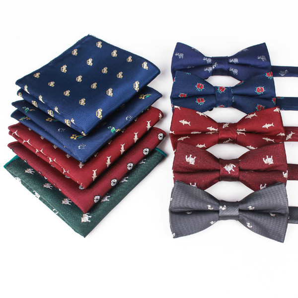 2019 Fashion Accessories Pocket Towel Men's Casual Animal Bow Tie Set Polyester Silk Jacquard Bow Tie