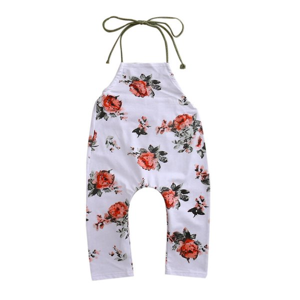 Summer Kids Girls Floral Romper Baby Girls Sleevless Halter Romper Jumpsuit Playsuit Sunsuit Child Casual Outfits Clothes