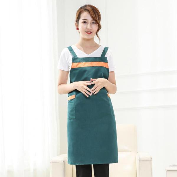 Frauen-Männer-Küche, die Schürze mit Taschen kocht Chef Waiter Home Baking Dress Aprons
