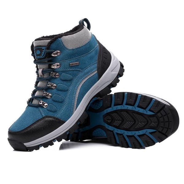2019 new real leather outdoor hiking shoes plus velvet men warm snow boots walking climbing non-slip women casual shoe trekking shoes