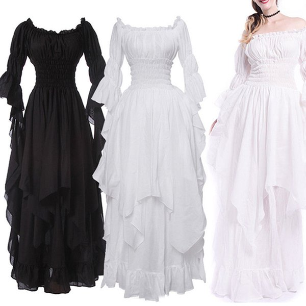 Medieval Womens Lolita Off Shoulder Layered Princess Long Dress Ball Gown Cosplay Costume Trumpet Sleeve Purity Retro Dresses