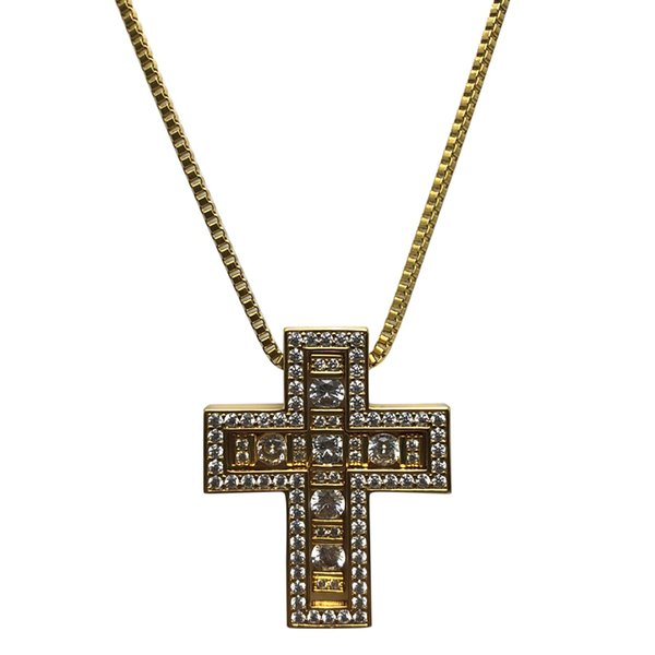 2018 New Fashion Brand Trendy Pendant Necklace CZ Beads Iced Out Cross Pendant Necklace For Men Women Jewelry,Friendship Gift