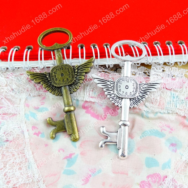 30pcs 78*46MM Antique bronze tibetan silver clock key wing charms for bracelet vintage metal pendant for earring handmade DIY jewelry making