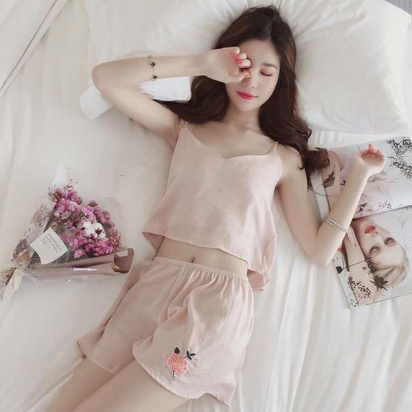 Women Female Sleep Set Women's Deep V-neck Girls Clothes Spaghetti Strap Shorts Silk Satin Sleepwear Homewear