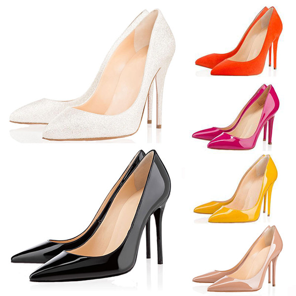 2019 red bottom Office Career ACE luxury designer women shoes high heels 8cm 10cm 12cm Nude black Leather Pointed Toes Pumps Dress shoes