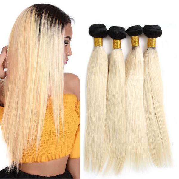 Longjiahair Brazilian 1B 613 Color Blonde Straight Weave 3 Bundles Double weft Extensions Virgin human Hair