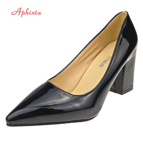 2019 Dress Aphixta Shoes Women Pointed Toe Pumps Sapato feminino 7.5cm High Square Heels Patent Leather Fashion Work Black Party Shoes