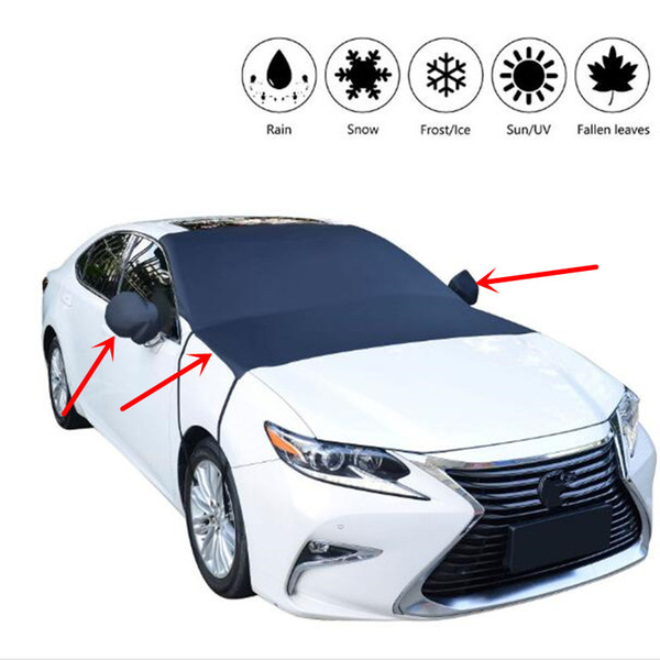 best selling Waterproof Car Cover Auto Windshield Sun-shading Front Window Rearview Mirror Snow Shade Cover Sunshade Cloth Exterior Accessories QP003