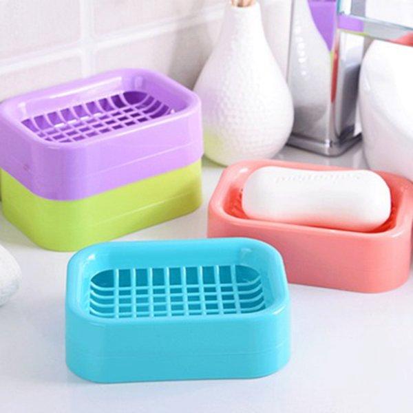 Criativa simples Soap Box Plastic Cozinha Casa de Banho WC Titular Handmade Soap Box Drenagem Saboneteira multi-cores opcionais