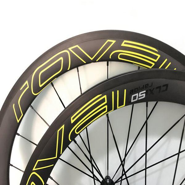 Calidad de la cena ruedas de bicicleta de carbono completo amarillo / negro / blanco rovail ruedas cxl 50/40 / 60mm ciclismo bicicleta ruedas de basalto superficie envío gratis