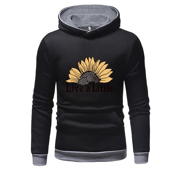 2019 Yeni Moda erkek Uzun Kollu Kapüşonlu Sweatshirt İlkbahar Sonbahar Katı Renk Baskı Streetwear Gotik Balıkçı Yaka Bluz YL4