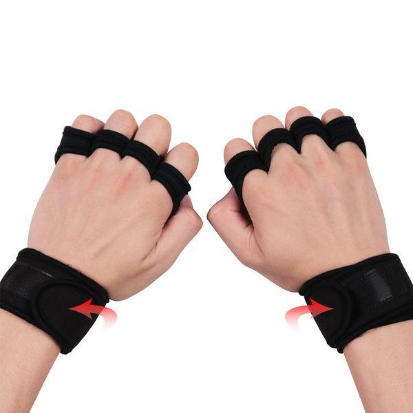 Gants de musculation Poignée à la main Fibre synthétique Crossfit Gymnastics Garde Protecteurs de paume Gant Pull Up Bar 2 Paires S M L