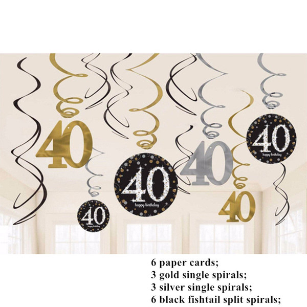 12PCS 30/40/50/60 Year Olds Single Party Decor Spiral Ornaments Happy Birthday Latex Sequin Balloon Party Decorations Adult DIY