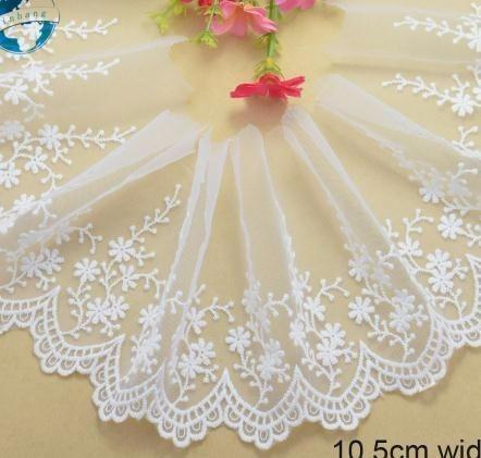 10.5cm wide white cotton embroid lace sewing ribbon fabric diy trims warp knitting Garment Accessories 2632