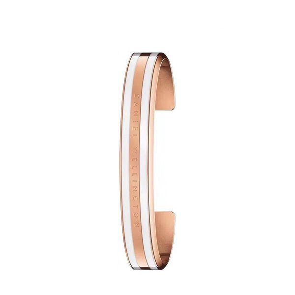 1PCS Wide White Stripe DW Bracelets 100% Titanium Steel Rose Gold Silver Bangle Cuff Engraved Logo Letters With Original Box