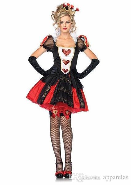 Sexy big queen of hearts königin kleid kostüm rolle spielen europäischen und amerikanischen halloween kostüme sexy kostüme
