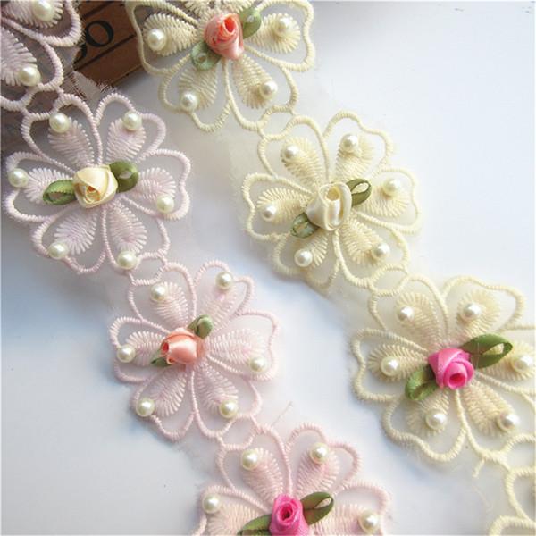 1 yard fleur perle dentelle bordure bordure ruban 5 cm largeur apricot rose garnitures tissu brodé appliques couture artisanat décoration de mariage