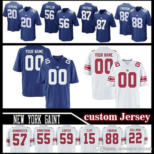 best sneakers c3d5d 133e5 2019 Gaint 26 Saquon Barkley Customized Men Gaints Jerseys 56 Lawrence  Taylor 98 Damon Harrison 20 Janoris Jenkins 87 Sterling Shepard Eli Apple  From ...