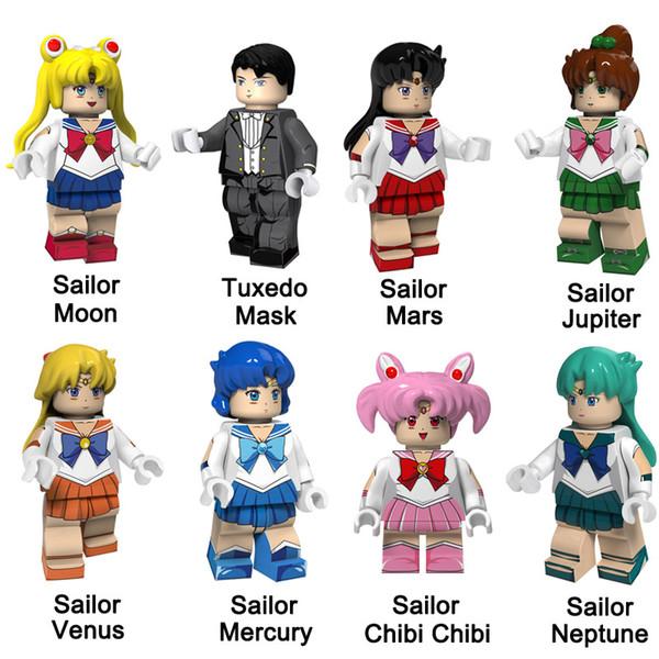 Mini Sailor Moon Mars Jupiter Vénus Mercury Chibi Neptune Tuxedo Masque Figure Building Block Jouet pour Fille