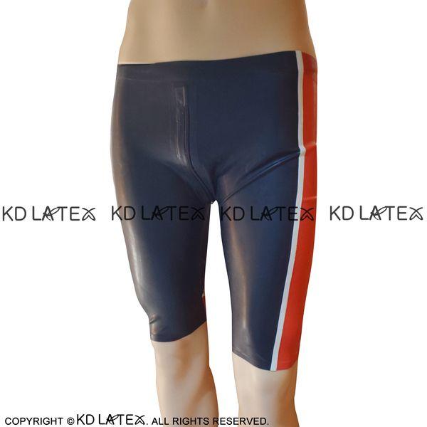 Noir avec Boxer en Latex Sexy à jambe longue rouge et blanc sexy avec entrejambe fermeture éclair sous-vêtements en caoutchouc Short garçon Shorts DK-0178