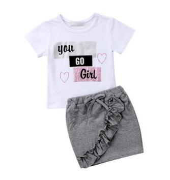 New Toddler Infant Children clothing Kid Baby Girl Tops T-shirt Pencil Skirts 2Pcs dress skirt Outfit Ruffled Shortsleeve Clothes Set 1-5T