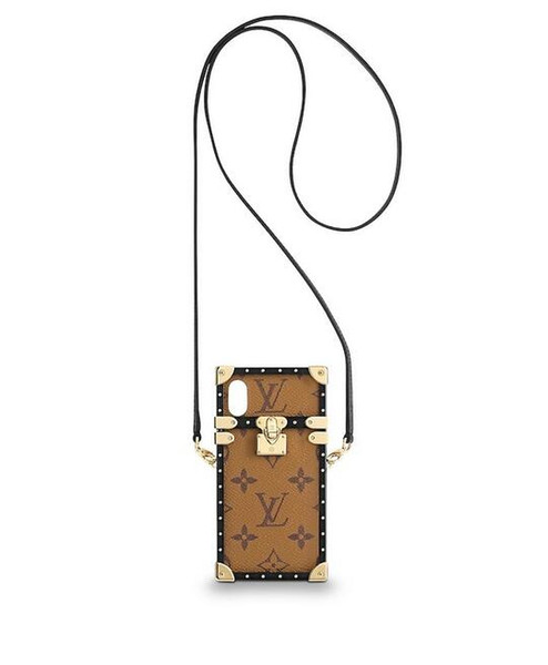 M62619 Eye Trunk for iPhone XS WOMEN REAL LEATHER LONG WALLET CHAIN WALLETS COMPACT PURSE CLUTCHES EVENING KEY CARD HOLDERS