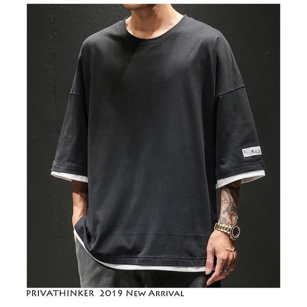 Privathinker Erkekler Japonya Tarzı Sahte Iki Adet Tişörtleri Streetwear 2019 Erkekler Hip Hop O-Boyun T-shirt Rahat Erkek Katı Yaz Tshirt SH190824