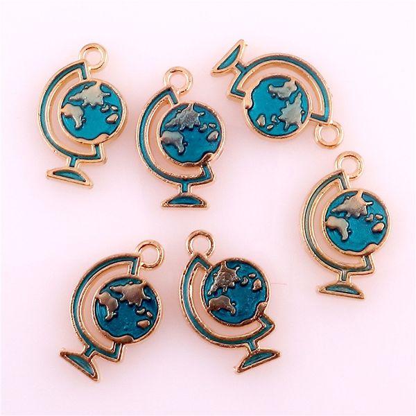 50pcs Blue Globe Enamel Pendant Charms Gold-color Oil Drop Floating Charms DIY Bracelet Jewelry Accessory