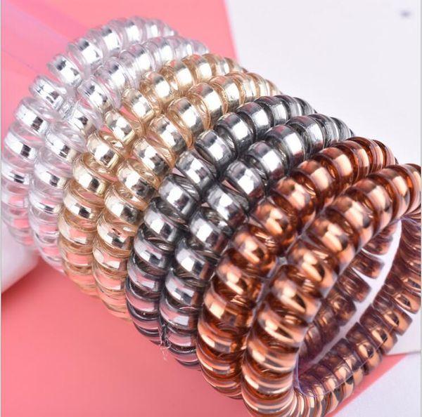 Linha de telefone de cor de doces acessórios para o cabelo telefone cordão de telefone pulseira de plástico cinta faixa de cabelo laços de cabelo Headbands
