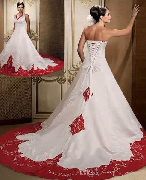 Excelentes vestidos de novia de color rojo oscuro y blanco 2019 Halter sin mangas por encargo corte tren satinado bordado vestidos de novia