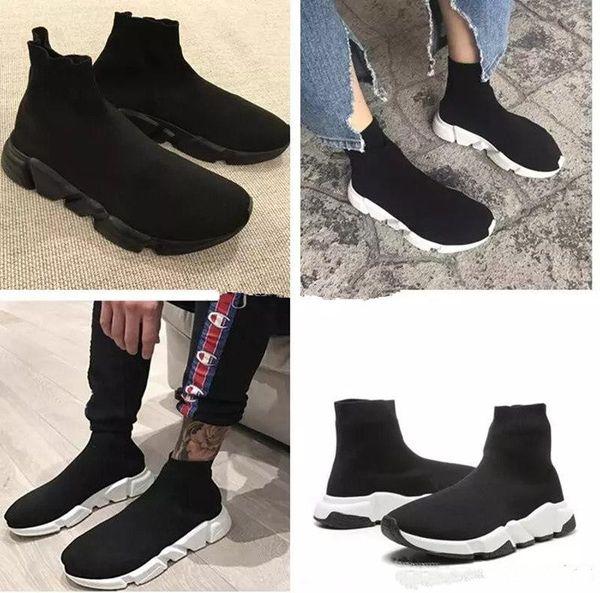 Kutu ile Yüksek Kaliteli Çorap Ayakkabı Hız Trainer Sneakers Hız Trainer Çorap Yarış Koşucular siyah Ayakkabı erkekler ve kadınlar Spor Ayakkabı 36-45