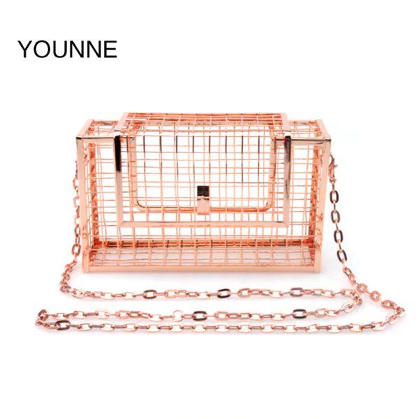 YOUNNE женщины сумка металлические сетчатые сумки розовое золото сетки сетки клетка сцепления женщин одной цепи Сумка женская муфта для женщин 2018