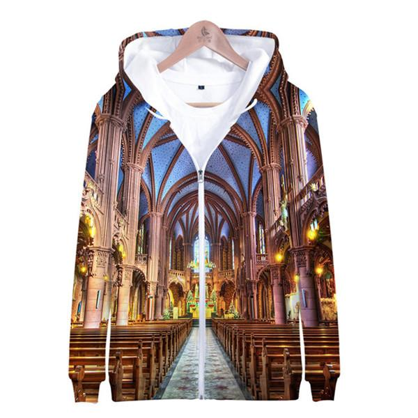 FASHION- Notre Dame de Paris Hommes Femmes Hoodies 3D imprimé Tops Sweat-shirts O-Neck loose Zipper femmes Vêtements causales