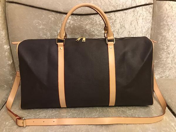 2019 homens DUFFLE mulheres saco de viagem sacos de bagagem de mão saco designer de viagens de luxo homens pu bolsas de couro grande cruz corpo totes saco de 55 centímetros