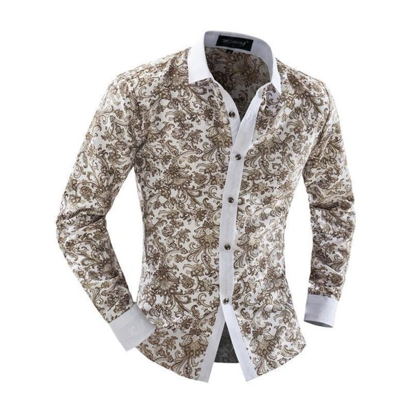 Wholesale- Nice Pop Trend Mens Slim Fit Casual Dress Shirts Floral Print Long Sleeve Design Blouse Lapel Tops Men Shirts Size M-2xl