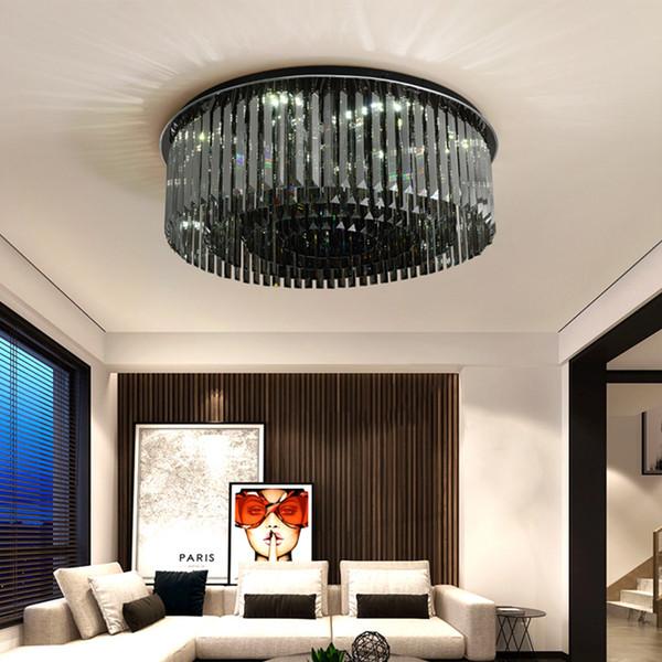 Новый дизайн современный круглый хрустальная люстра потолочные светильники дымчатый хрустальные люстры освещение потолочное светильник для гостиной спальни