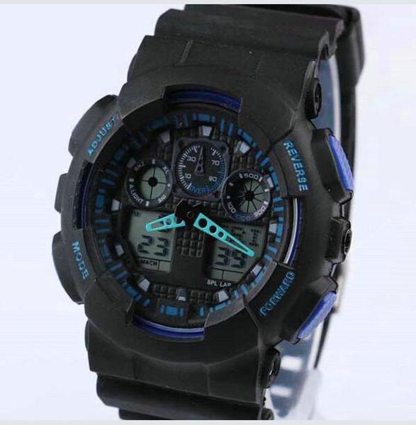 2019 Neue Dual-Display-Sportuhr GA100 G Schwarz Display LED Fashion Armee Militär schockierend Uhren Männer Kinderuhren chat # 4369