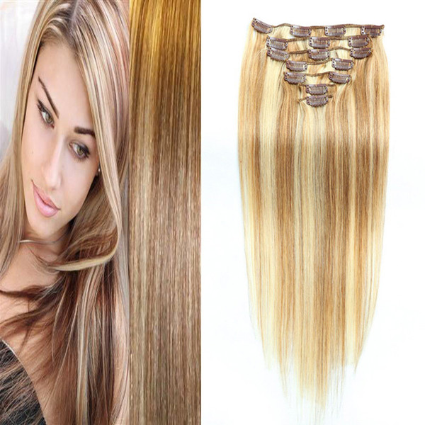 Brazilian Virgin Hair Clip In Human Hair Extensions Full Head Set 8pcs Brazilian Machine Made Remy Straight Hair 10-26 Inch