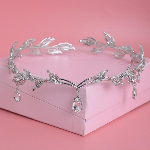 Luxury Crystal Crown Bridal Hair Accessories Wedding Rhinestone Waterdrop Leaf Tiara Crown Headband Frontlet Brides Hair Jewelry D19011102