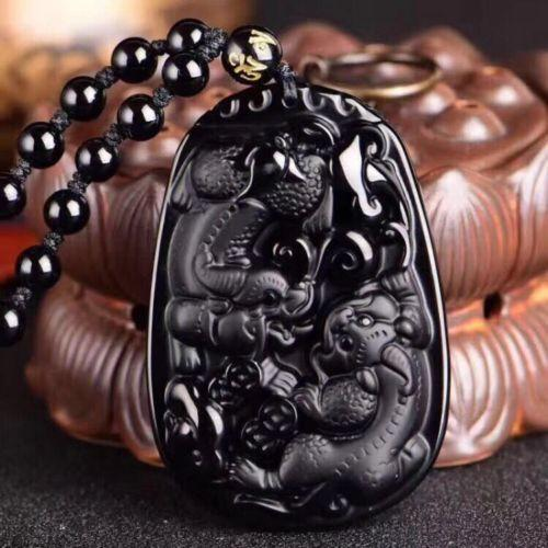 Koraba Fine Jewelry Naturalness Beautiful Obsidian Carved Chinese Dragon Two Pixiu Pendant Necklace Free Shipping
