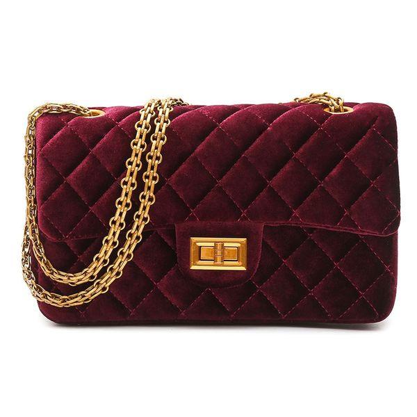Brand Designer Velvet Lady Messenger Bag Casual Velour Women Shoulder Bag Retro Chain 2018 Winter New Fashion Female Handbag #267640