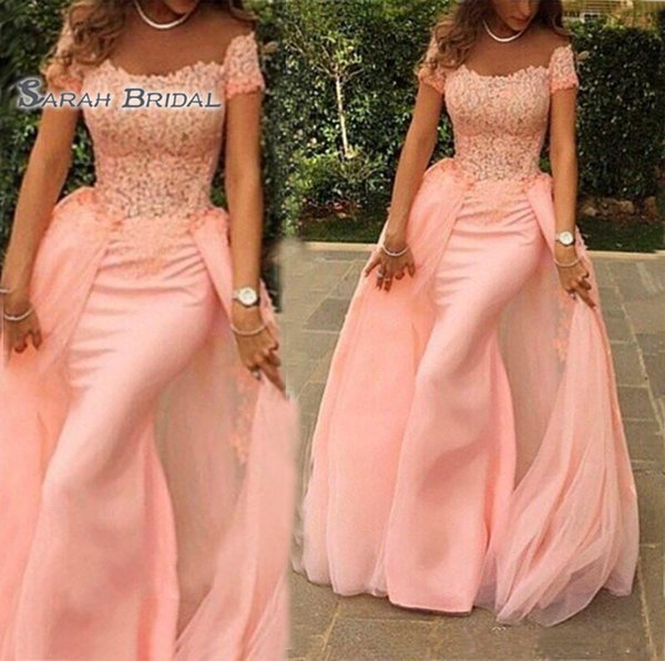 Elegant Off Shoulder Long Formal Evening Dress 2019 Mermaid Scalloped Short Sleeve Top Lace Floor Length Pink Arabic Style Prom Dresses