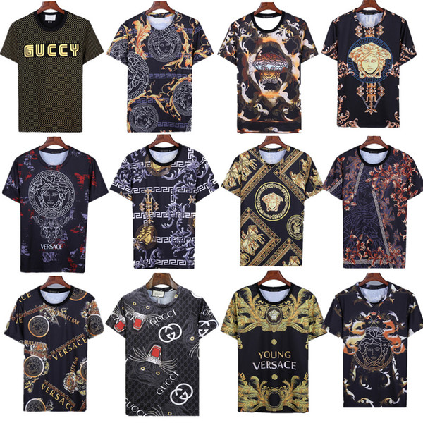 5 PSC Free DHL Men Designer T-shirts short sleeve T-shirt Italy Brand T-shirts Classic Luxury Embroidery fashion Letter Medusa t-shirt