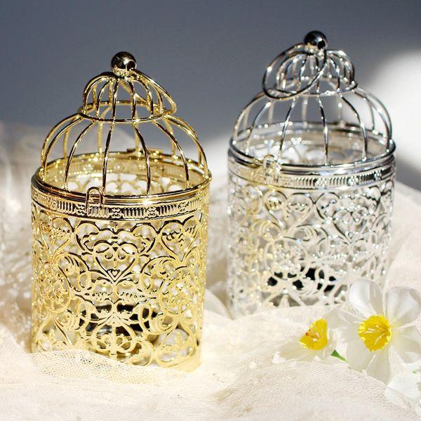 50pcs Candle Holders Birdcage Metal Modern Bird Cage Candlestick Creative Decor Loating Candle Holders Hanging Design Lantern Tea Light