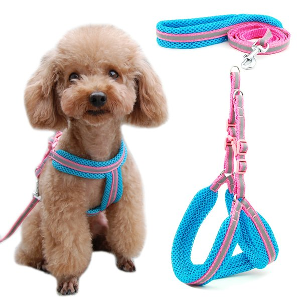 Dog Cat Harness Vest Reflective Breathable Mesh Pet Products Dogs Leash Harness Adjustable Collar Puppy Small Dog Night Walking