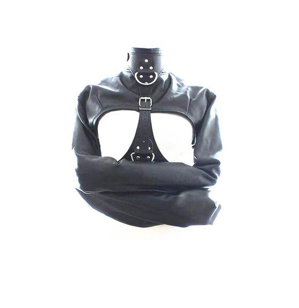 Fetiche SM Bondage BLACK sofe Restraint Couro Traje Jaqueta Reta Ajustável Escravo Camisa de Força para as mulheres ADF COR PRETO