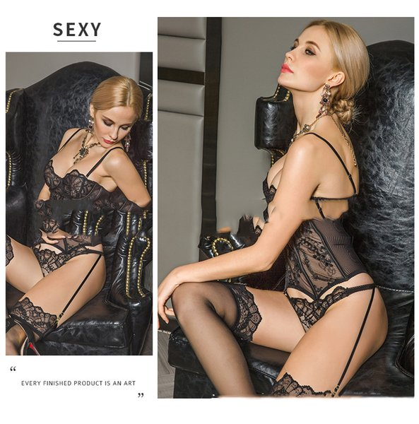Sexy Underwear for Elegant Lady Appealing Body Shaping Underwear Temptation Lace Sling Perspective Vest Suit 2 Style