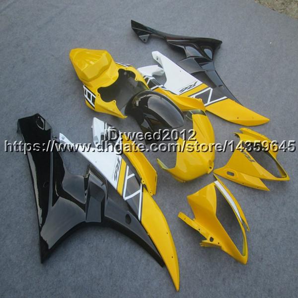 Tornillos + Moldeo por inyección personalizado kit de carrocería de la carrocería del casco amarillo para Yamaha YZF-R6 06 07 Kit de paneles de motor de plástico ABS
