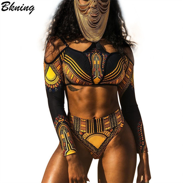 Bkning Plus Size Bikini African Swimwear Halter Swimsuits High Waist Swimsuit Long Sleeve Monokini Off Shoulder Bathing Suit Y19072601