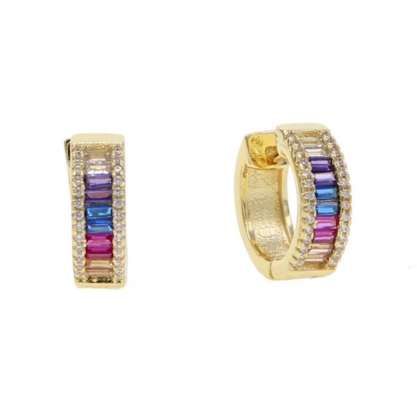 Arcobaleno Baguette Cubic Zirconia Cz Hoop Orecchino Oro Argento Colore Classico Lusso Splendido Europeo Gioielli Moda Donna Y19062703